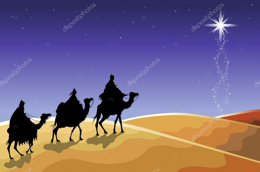 Christmas religious card with The Three Magi following the rising Star. Vector illustration saved as EPS AI 8, no effects, simple gradients.  — Stock Vector #3885672