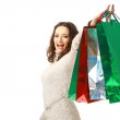 Young woman holding several shoppingbag — Stock Photo