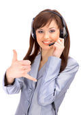 Business customer support operator woman smiling - isolated — Stock Photo