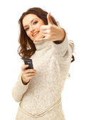 Woman on phone isolated on white background — Stock Photo