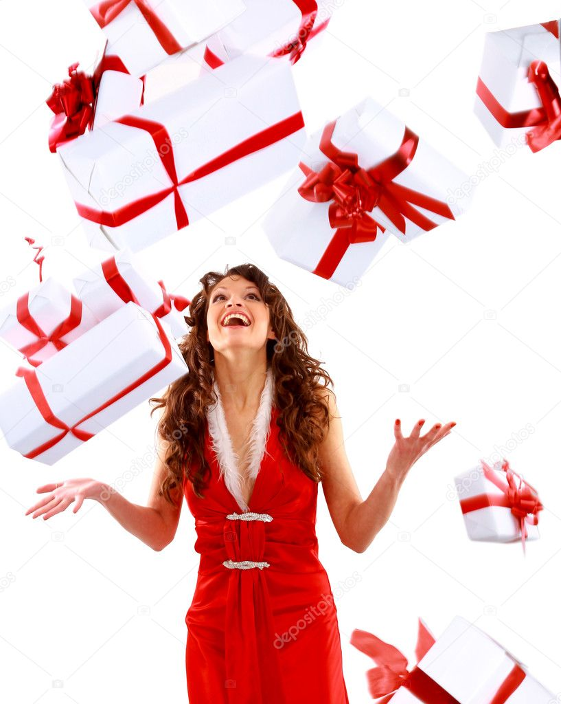 Excited attractive woman with many gift boxes and bags.  Stock Photo #2890566