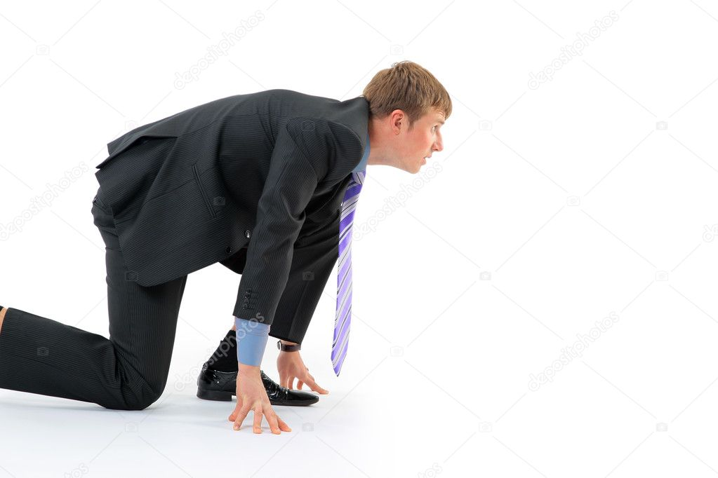 Businessman on starting line isolated over white background — Stock Photo #2890622
