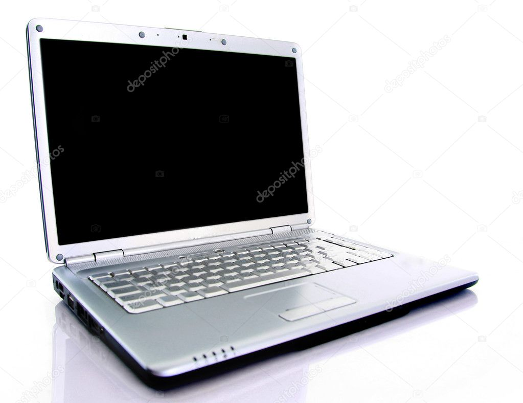 Modern laptop isolated on white with reflections on glass table.  Stok fotoraf #2891341