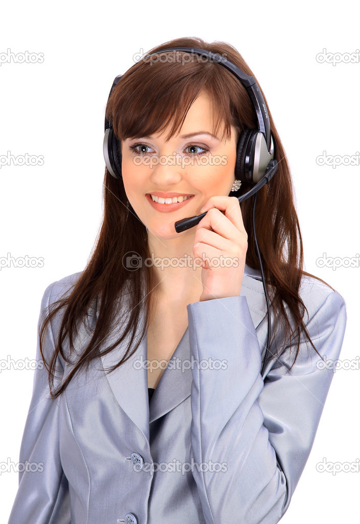 Woman wearing headset in office; could be receptionist — Stock Photo #2891483