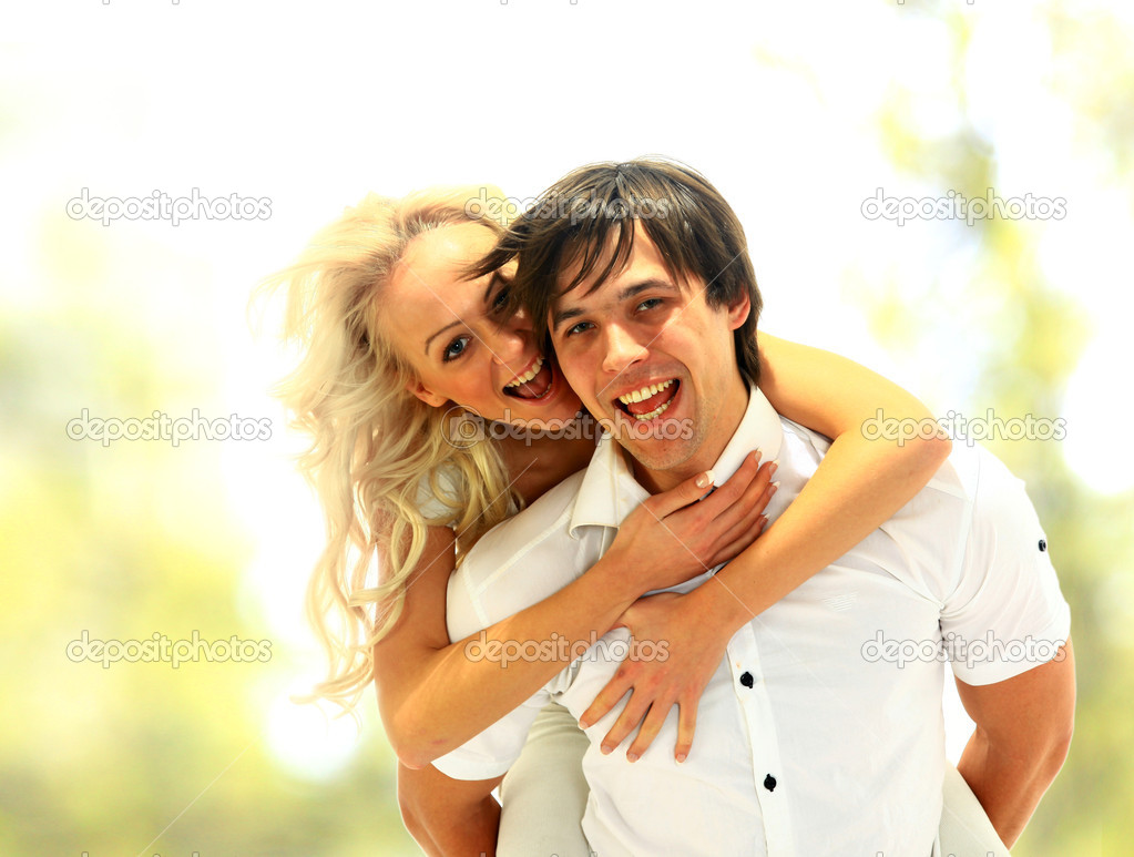 Happy smiling couple in love. Over white background — Stock Photo #3070858