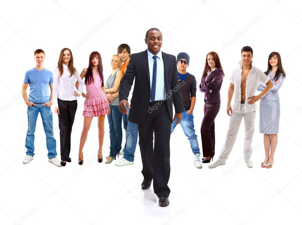 Group of the young smiling students. Over white background  — Stock Photo #3158680