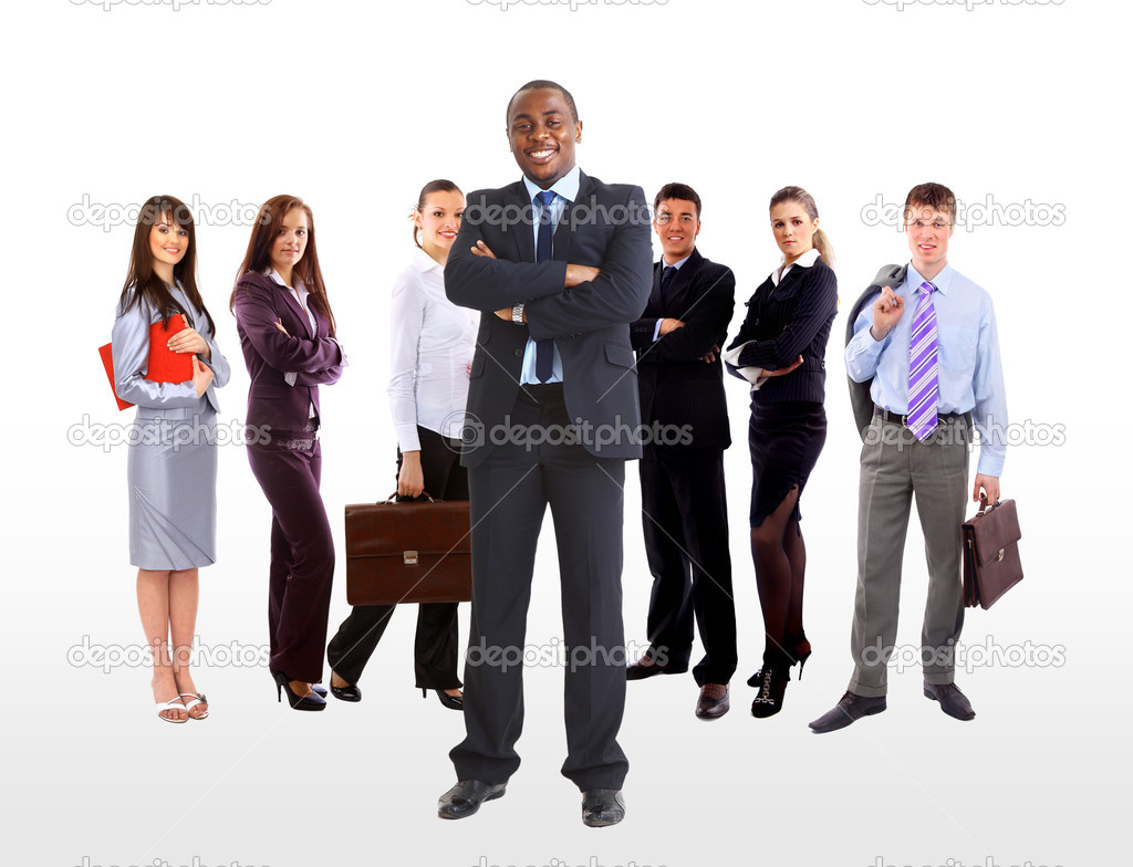 Business man and his team isolated over a white background — Stock Photo #3159155