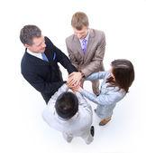 Iş arkadaşları ile birlikte ellerini grubu — Stok fotoğraf