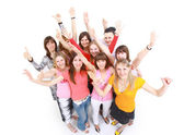 Happy students group demonstrating partnership — Stock Photo