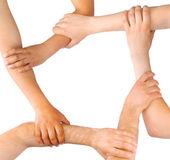 Business linking hands in teamwork — Stock Photo