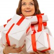 Picture of cheerful santa helper girl with gift box — Stock Photo
