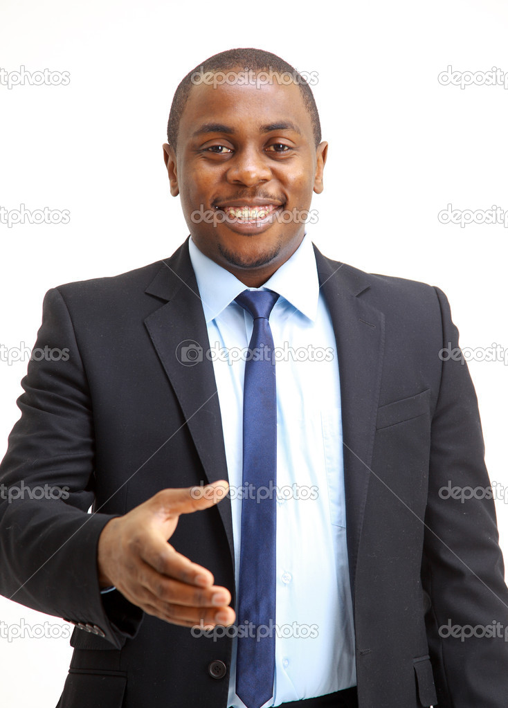 Portrait of an African American business man with an open hand ready to seal a deal  — Stock Photo #4178642