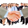 Handshake isolated on business background — Stock Photo #4221875