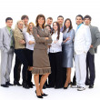 Visionary young business group - business woman with his colleagues in the — Stock Photo