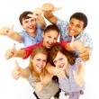 Casual group of happy isolated over white - Stock Photo