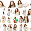Collection portraits of a charming female posing over white background — Stock Photo