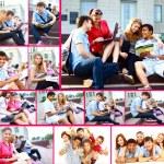 Sammlung Fotos von Studenten auf Treppe — Stockfoto