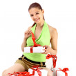 Young happy woman with a gift — Stock Photo #4235403