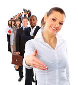 Businesswoman and shis team — Stock Photo