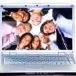 Business-team in display laptops — Stock Photo
