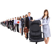 Contemporary office chair and businesswoman — Stock Photo
