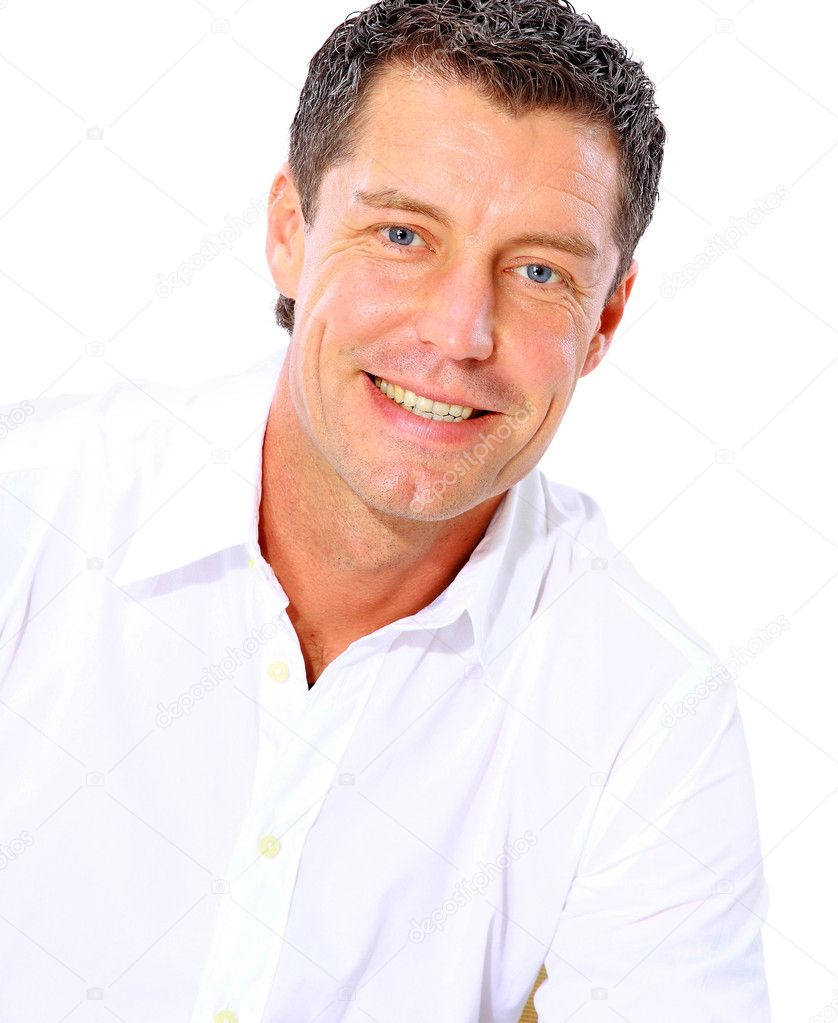 Closeup portrait of a senior man smiling on white background  — Stock Photo #4247517