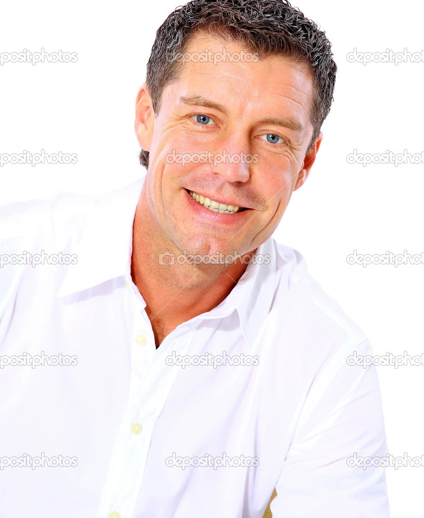 Closeup portrait of a senior man smiling on white background   Stok fotoraf #4247517