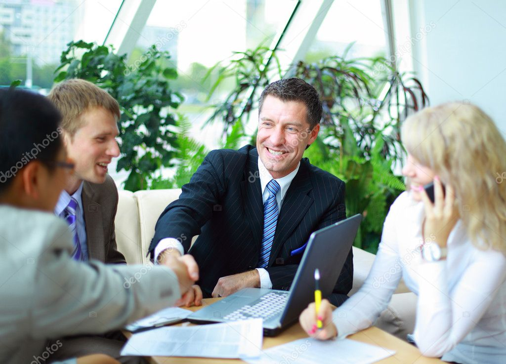 Business shaking hands, finishing up a meeting — Stock Photo #4249128