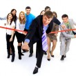 Stock Photo: Businesspeople crossing finish line