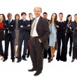 Stock Photo: Business man and his team isolated over a white background