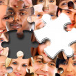 Group of business in pieces of a puzzle — Stock Photo #4263175