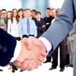Handshake isolated on business background - Stok fotoğraf
