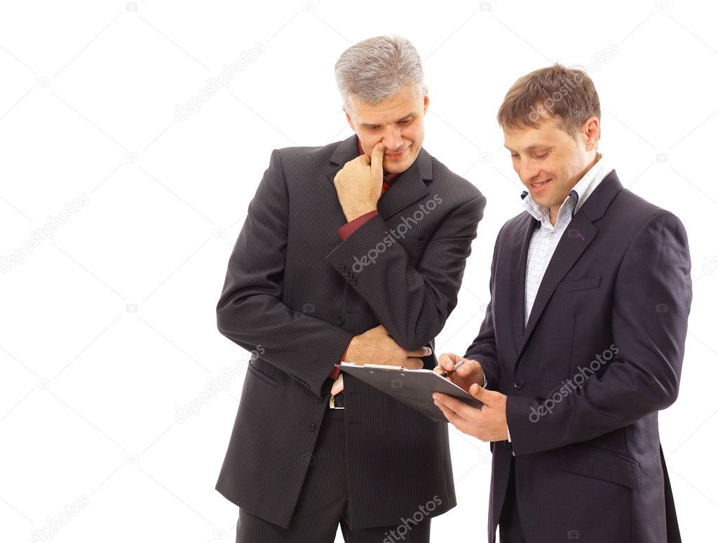 Two businessmen discussing - Isolated studio picture in high resolution.   Stock Photo #4263116