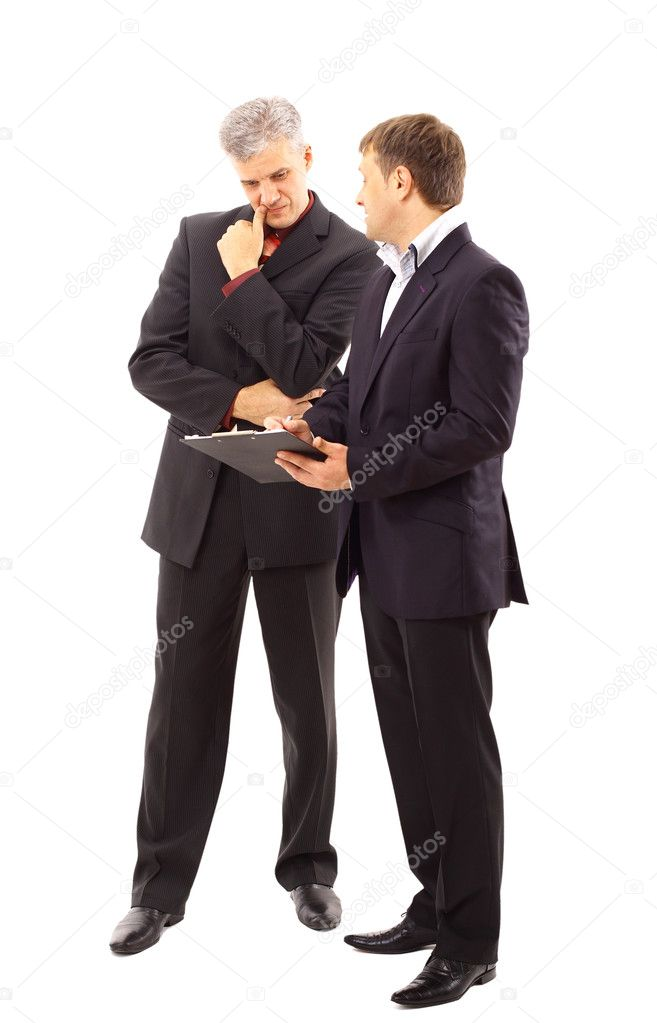 Two businessmen discussing - Isolated studio picture in high resolution.   Stock Photo #4263120