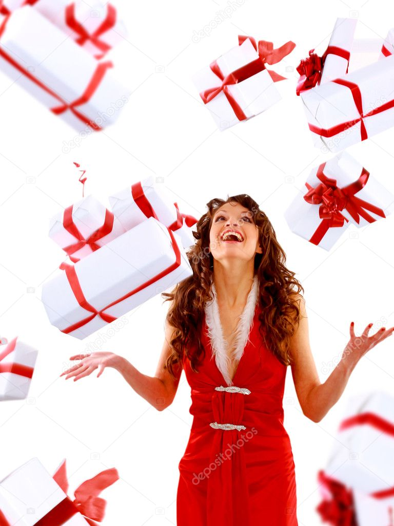 Excited attractive woman with many gift boxes and bags — Stock Photo #4263295