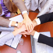Businessteam and hands on top of each other — Stock Photo #4276362