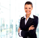 Business woman. Isolated over white background — Stock Photo
