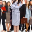 Leader and her team, Young attractive business with focus only on bu — Stock Photo