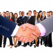 Stock Photo: Business mwith open hand ready to seal deal