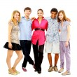 Happy teen young boys and girls standing together against white background — Stock Photo