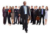 Homme d'affaires et son équipe isolé sur fond blanc — Photo