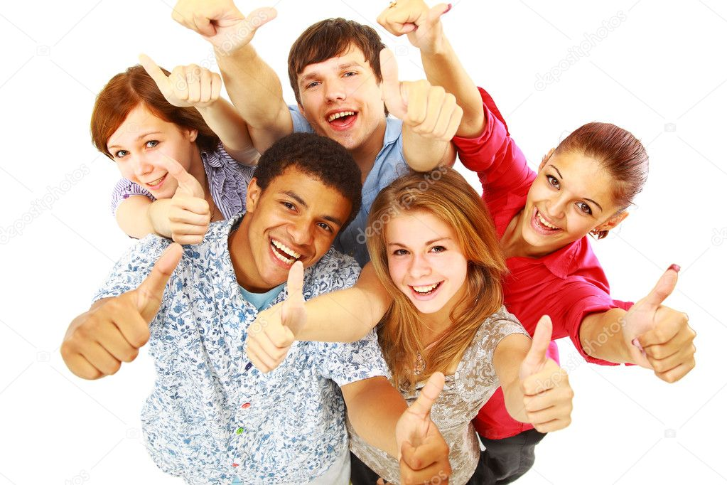 Group of happy joyful friends standing with hands up isolated on white background   Stock Photo #4295802