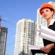 Female architect holding blueprints — Stock Photo #4303761