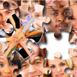 Group of business in pieces of a puzzle - Stock Photo