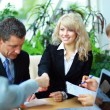 Business shaking hands, finishing up a meeting — Stock Photo #4305305