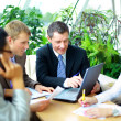 Business meeting - manager discussing work with his colleagues — Foto de Stock