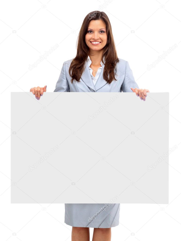 Isolate of a business woman standing beside a blank board  — Stock Photo #4303730