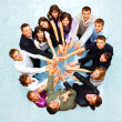 Top view of business with their hands together in a circle — 图库照片