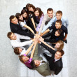 Royalty-Free Stock Photo: Top view of business with their hands together in a circle