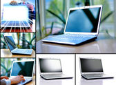 Collectie van zes laptops — Stockfoto